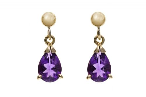 9 Carat Yellow Gold Amethyst Drop Earring